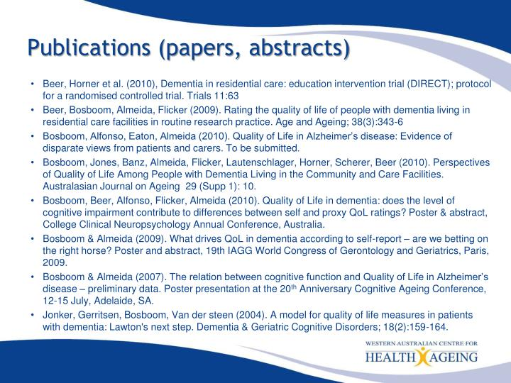 Publications (papers, abstracts)