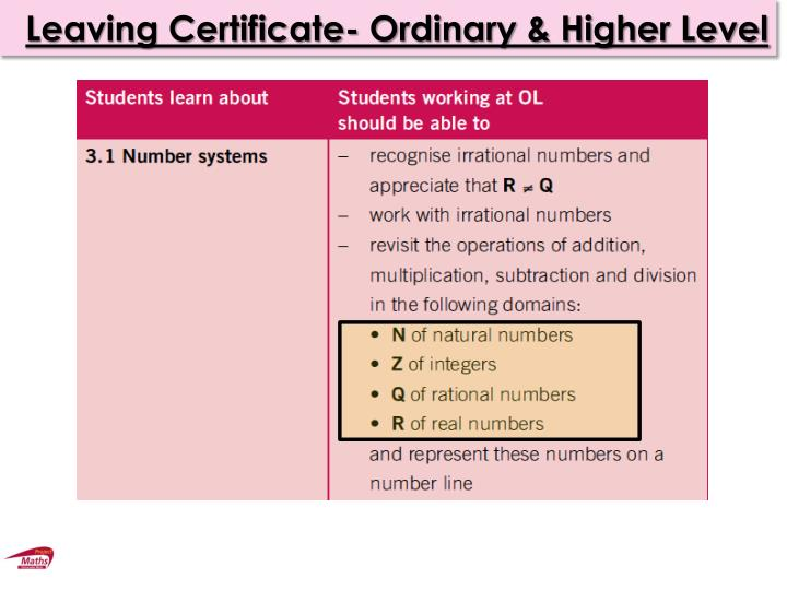 Leaving Certificate- Ordinary & Higher Level
