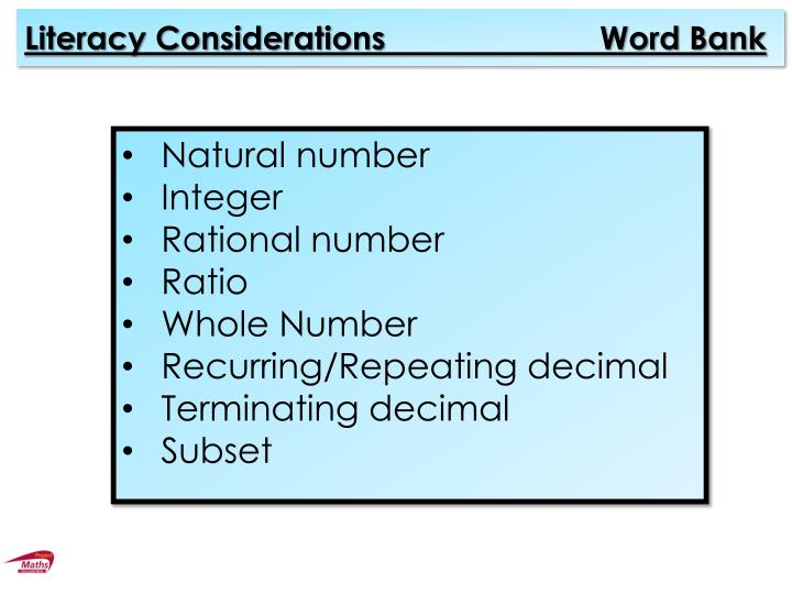 Literacy Considerations                        Word Bank