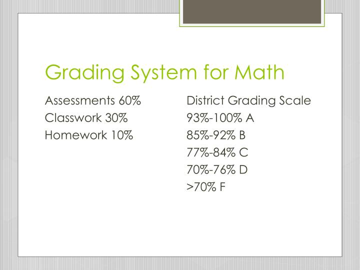 Grading System for Math
