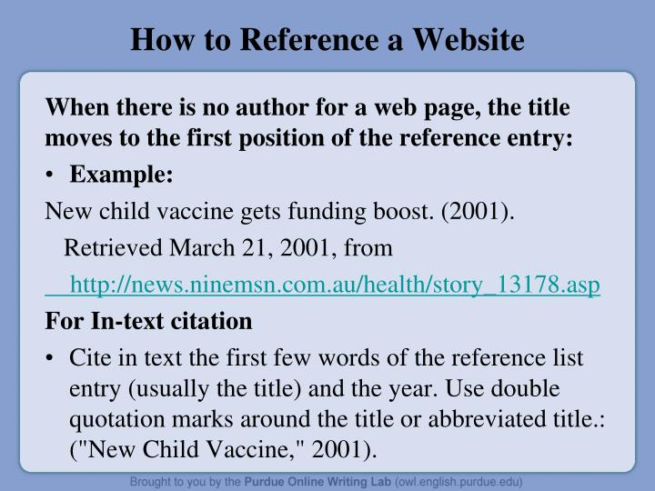 How to Reference a Website