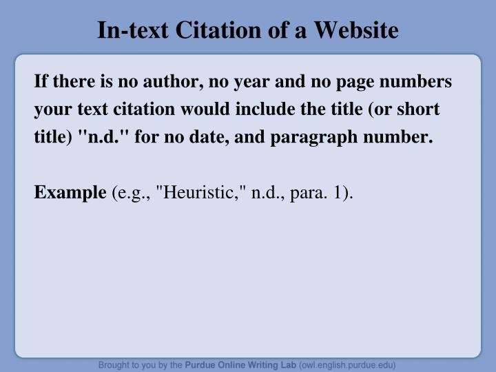 In-text Citation of a Website