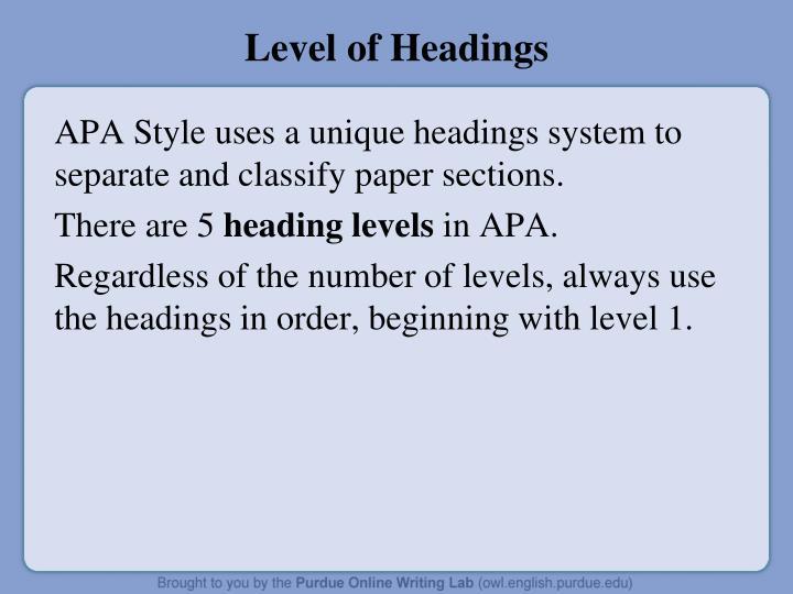 Level of Headings