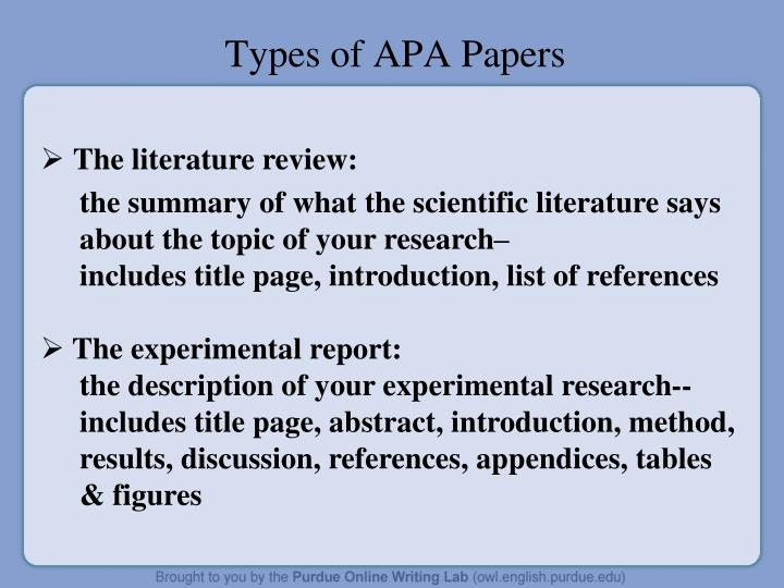 Types of APA Papers