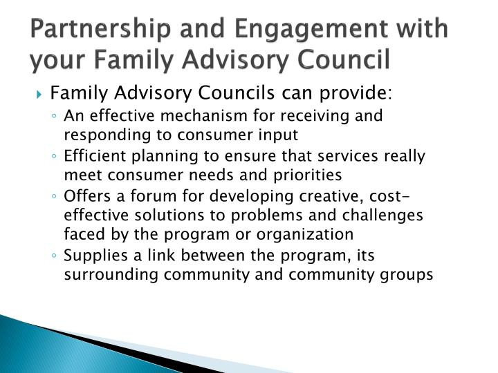 Partnership and Engagement with your Family Advisory Council