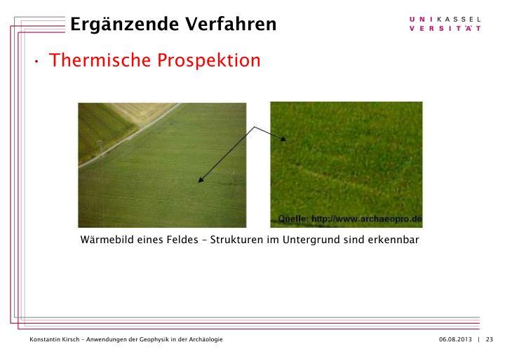 Wärmebild eines Feldes – Strukturen im Untergrund sind erkennbar