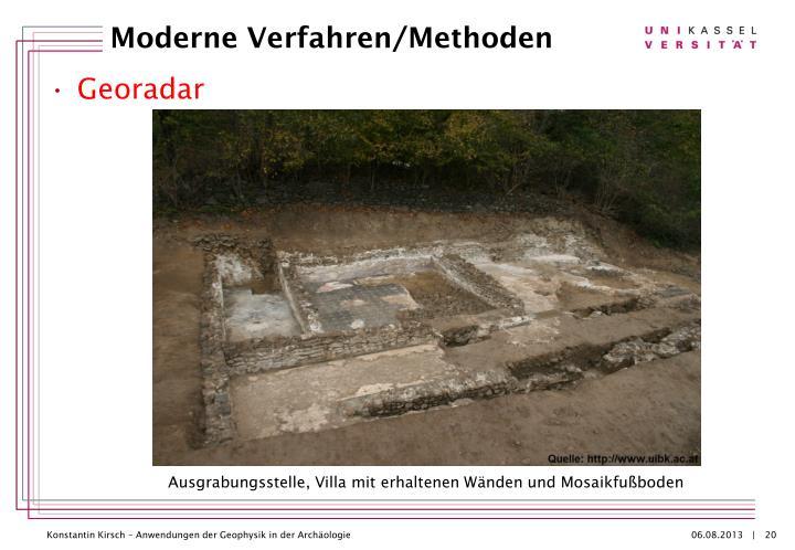 Ausgrabungsstelle, Villa mit erhaltenen Wänden und Mosaikfußboden