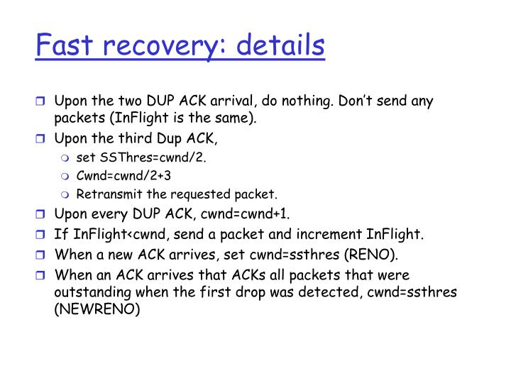 Fast recovery: details
