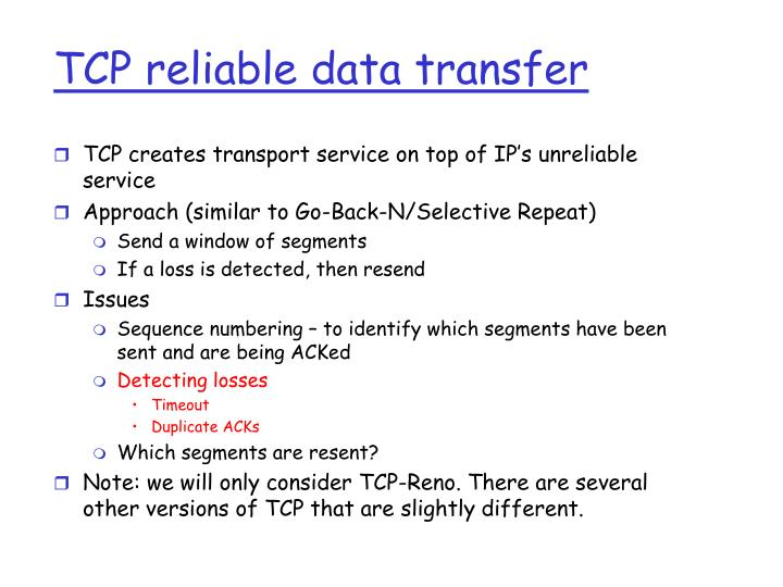 TCP reliable data transfer