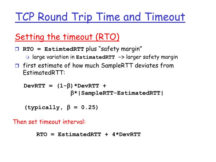 Setting the timeout (RTO)