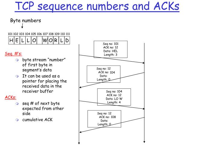 TCP sequence numbers and ACKs