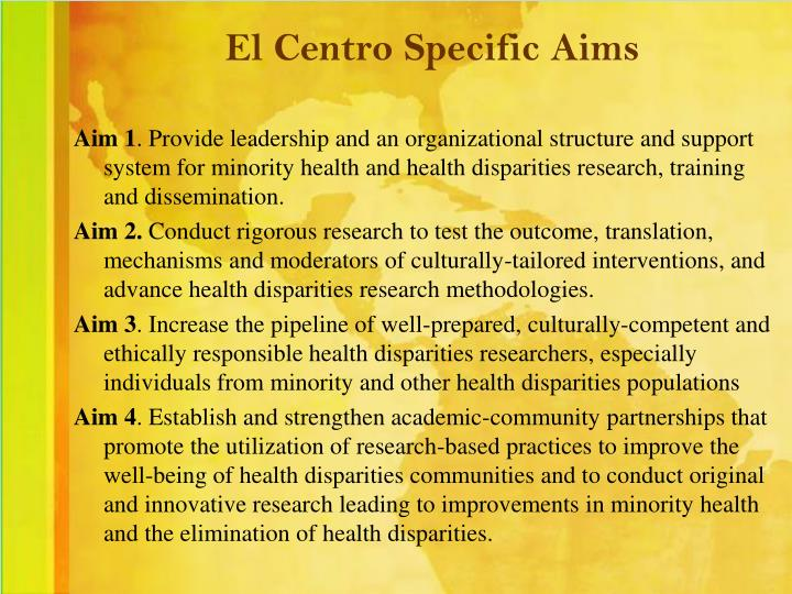 El Centro Specific Aims