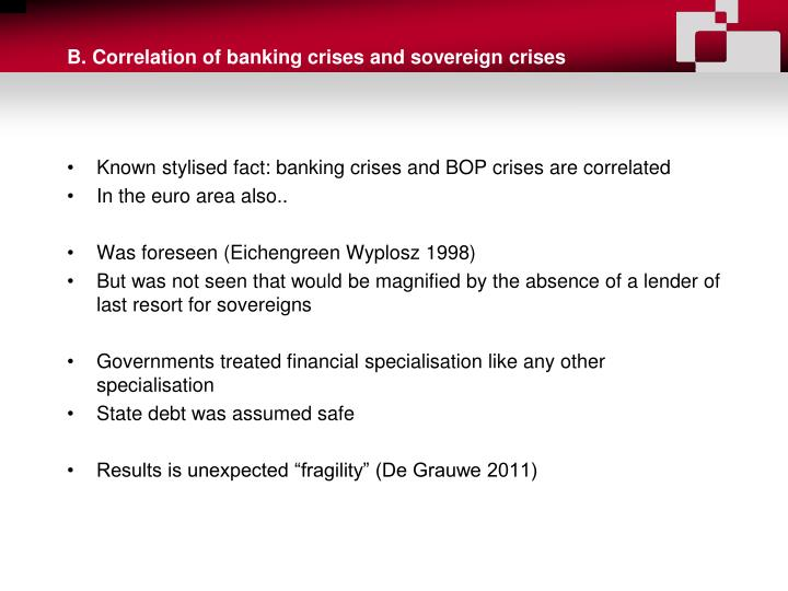 B. Correlation of banking crises and sovereign crises