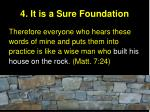 4 it is a sure foundation