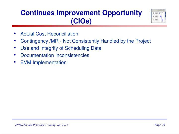 Continues Improvement Opportunity (CIOs)