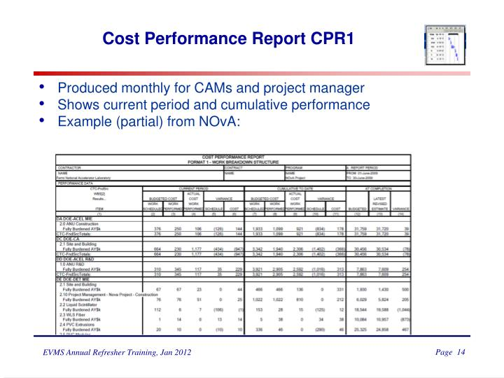 Cost Performance Report CPR1