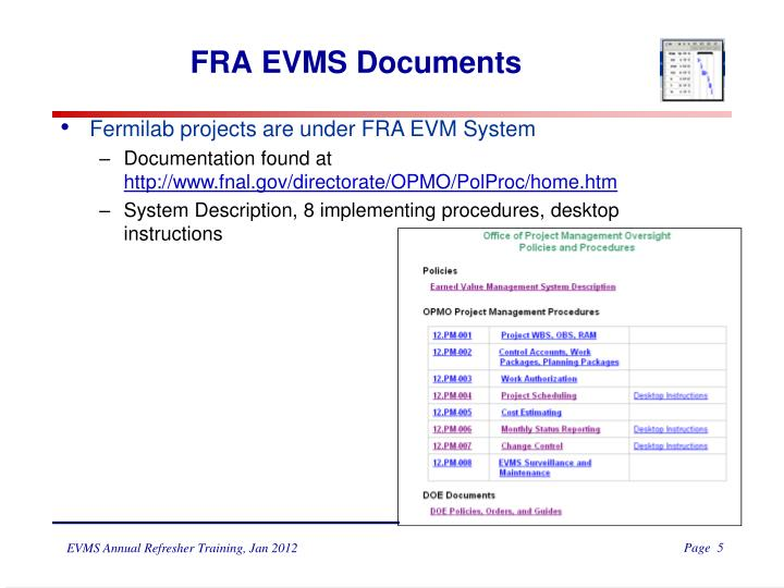 FRA EVMS Documents