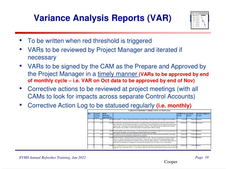 Variance Analysis Reports (VAR)