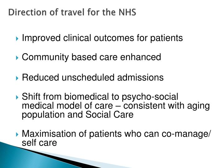 Direction of travel for the NHS