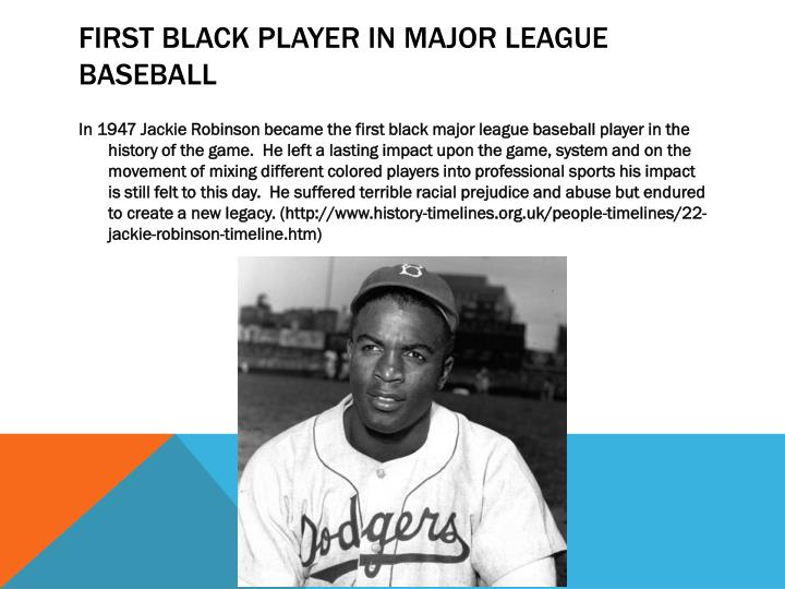 First black player in major league baseball