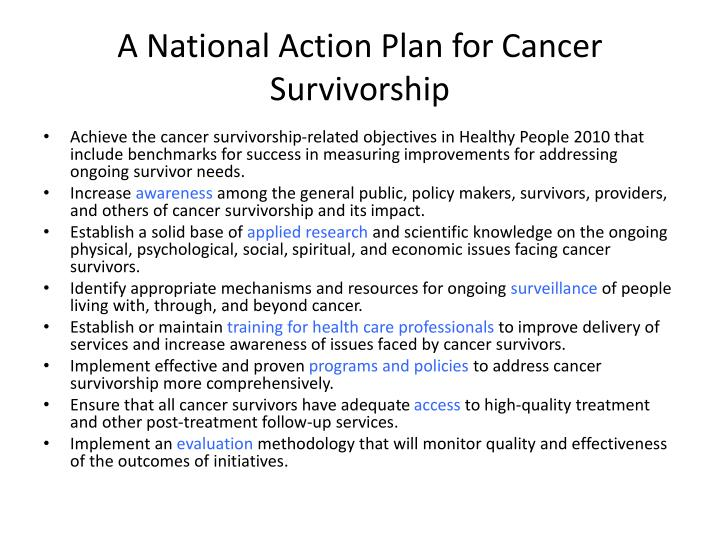 A National Action Plan for Cancer