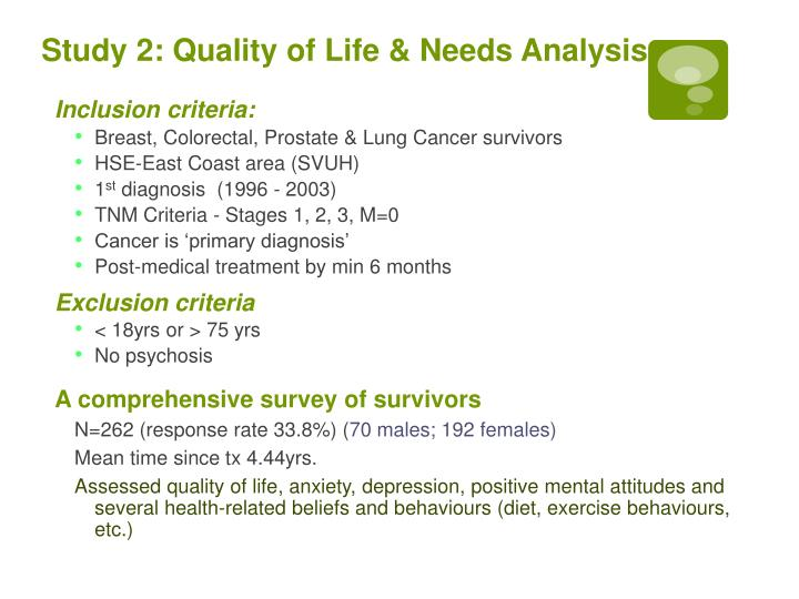 Study 2: Quality of Life & Needs Analysis