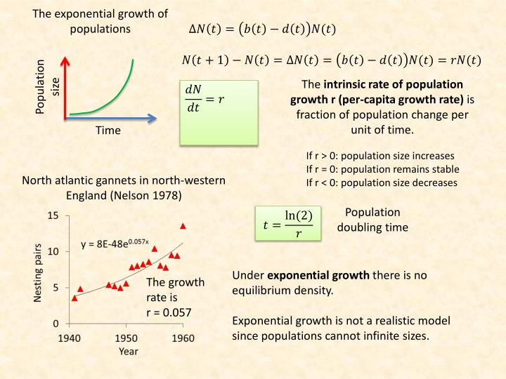 The exponential growth of populations