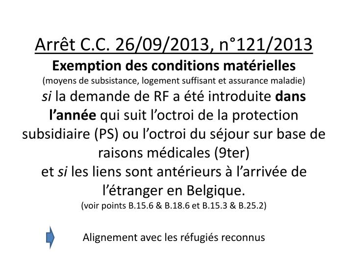 Arrêt C.C. 26/09/2013, n°121/2013