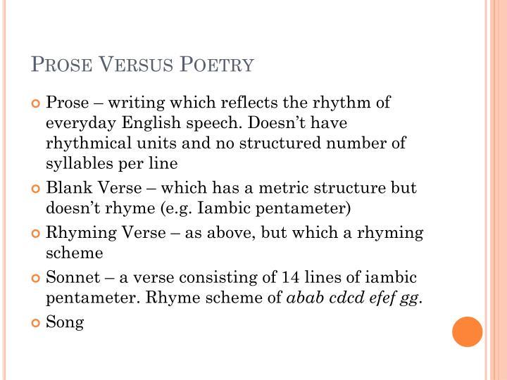 Prose Versus Poetry