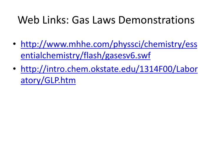 Web Links: Gas Laws Demonstrations