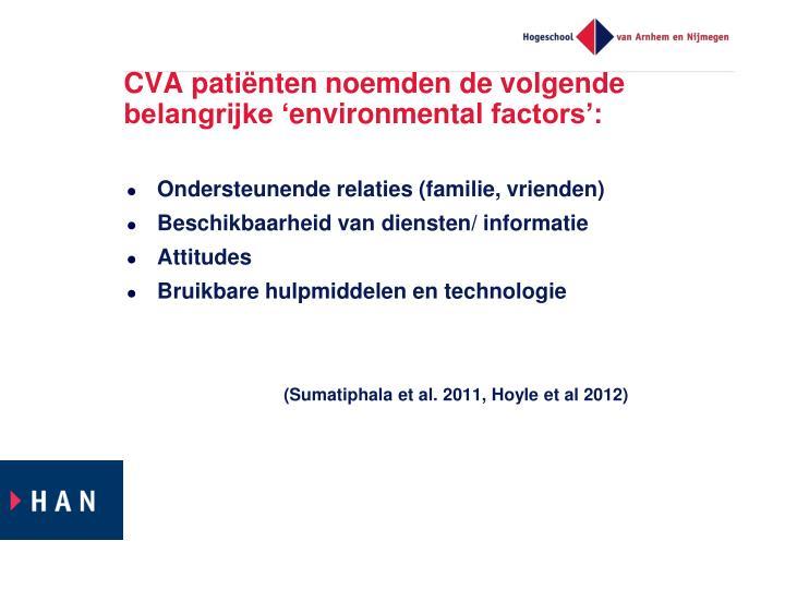 CVA patiënten noemden de volgende belangrijke '