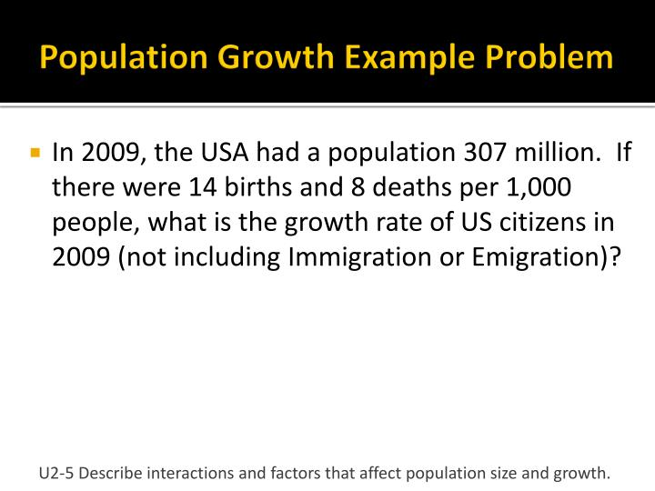 Population Growth Example Problem