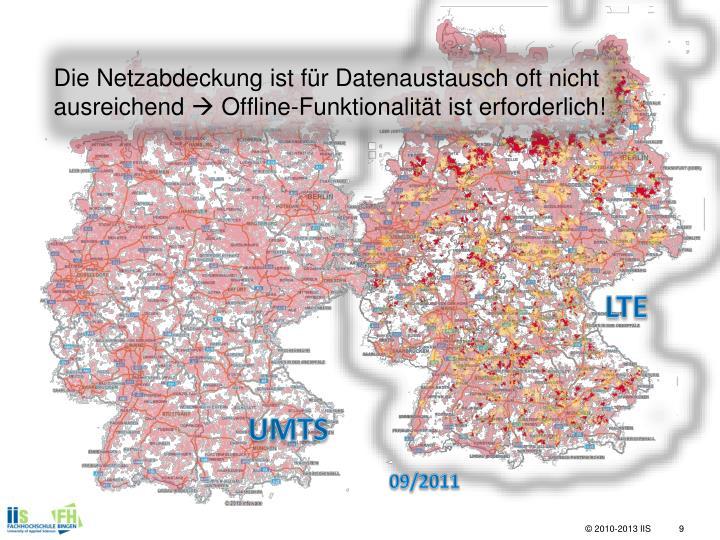 Die Netzabdeckung ist für Datenaustausch oft nicht ausreichend