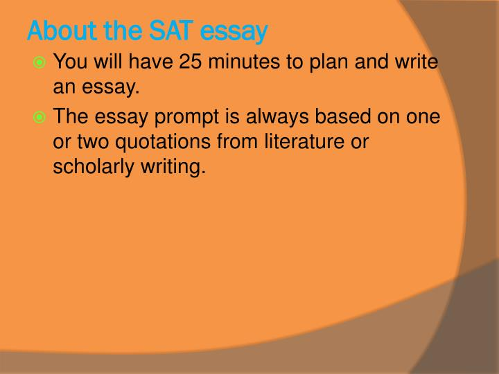 About the sat essay