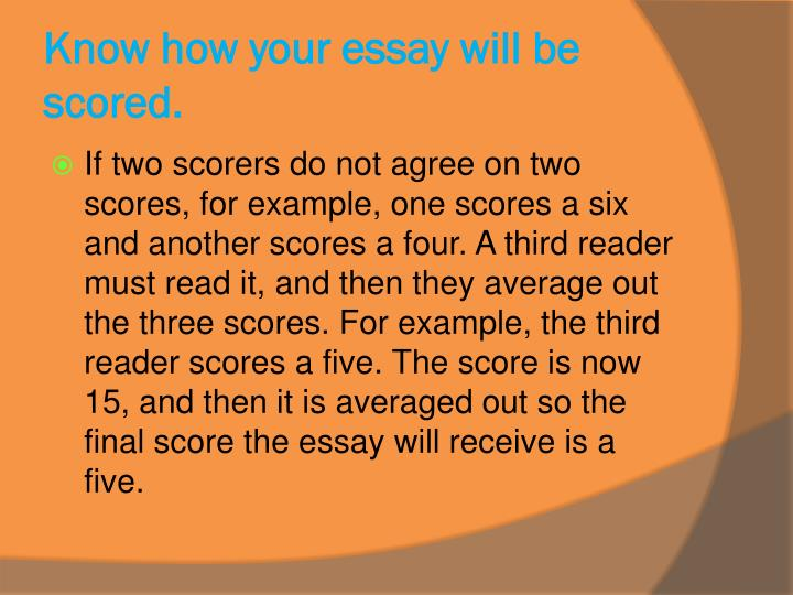 Know how your essay will be scored.