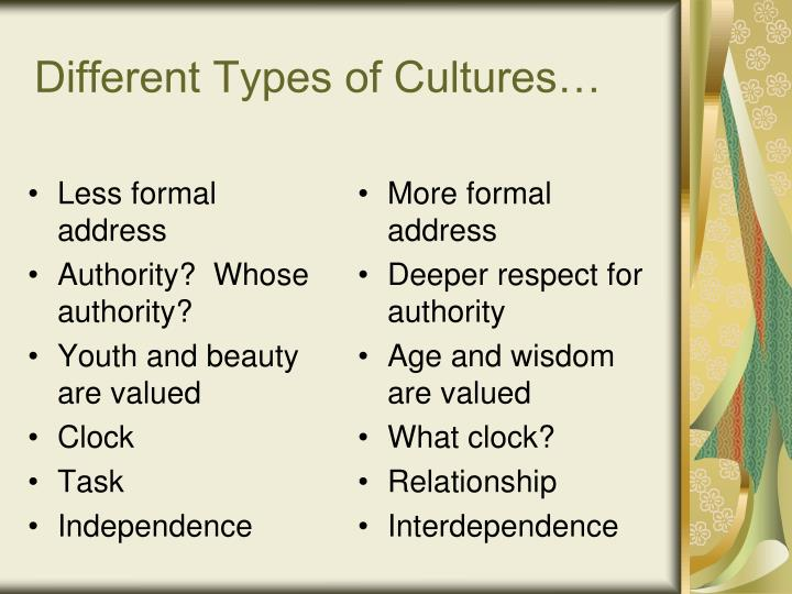 Different Types of Cultures…