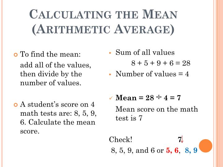 Calculating the Mean (Arithmetic Average)