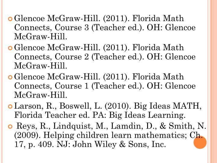 Glencoe McGraw-Hill. (2011). Florida Math Connects, Course 3 (Teacher ed.). OH: Glencoe McGraw-Hill.