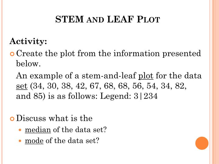 STEM and LEAF Plot