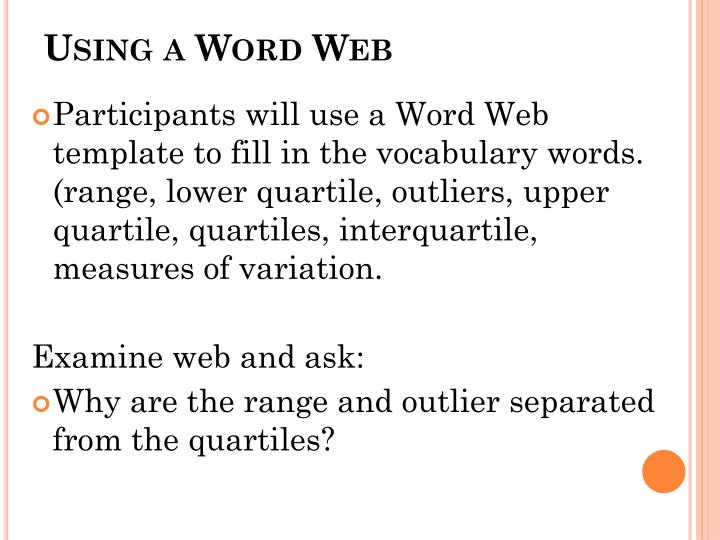Using a Word Web