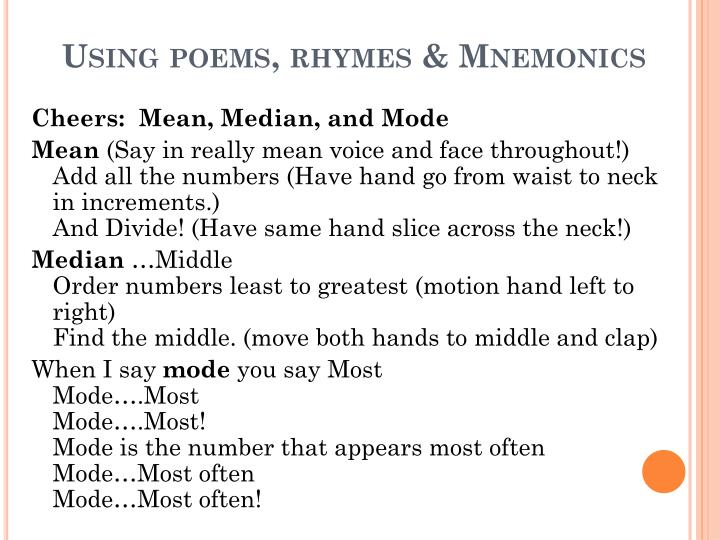 Using poems, rhymes & Mnemonics