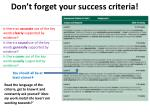 don t forget your success criteria