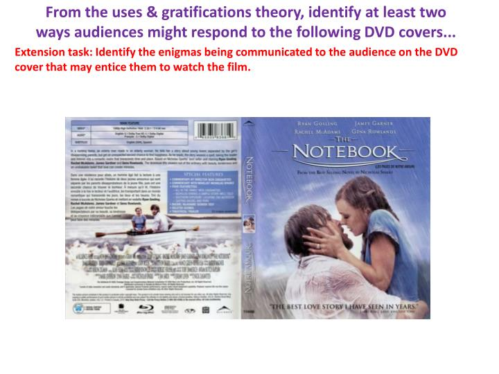 From the uses & gratifications theory, identify at least two ways audiences might respond to the following DVD covers...