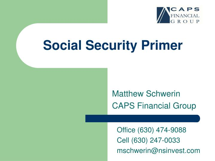 Social security primer