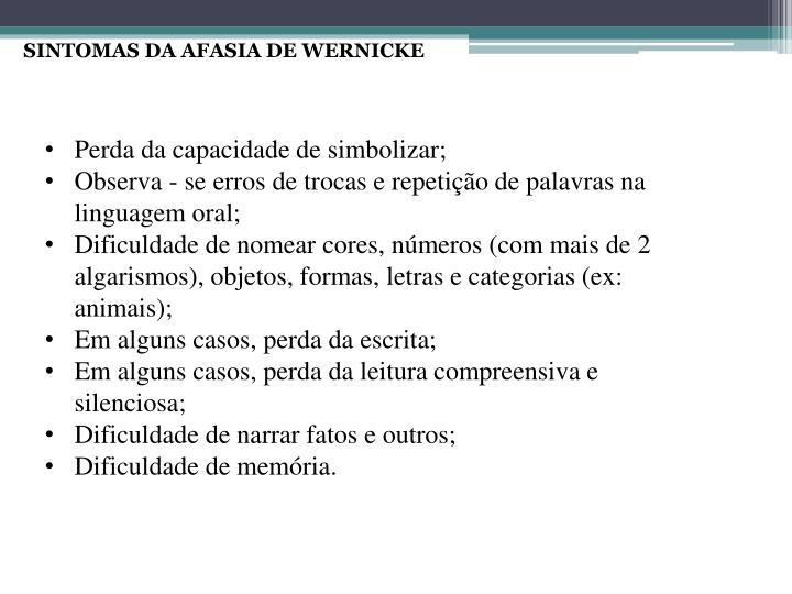 SINTOMAS DA AFASIA DE WERNICKE