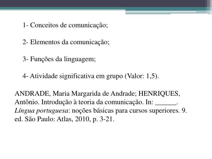 1- Conceitos de comunicação;