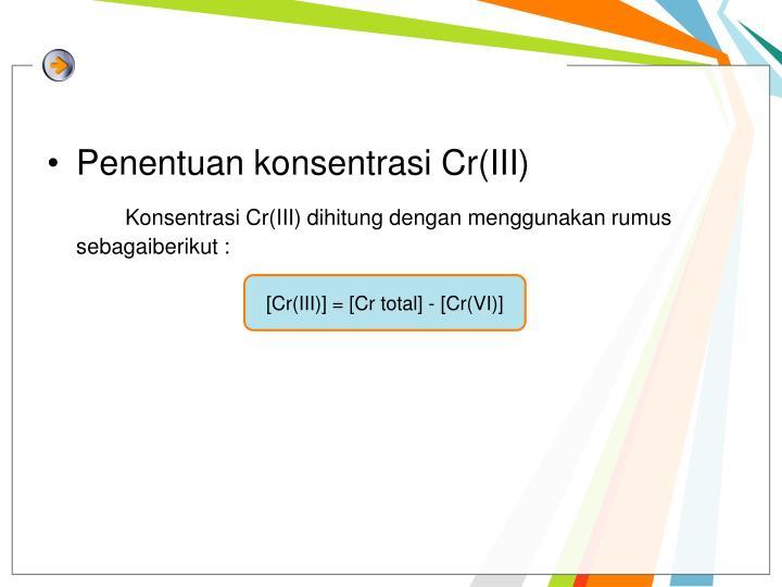 Penentuan konsentrasi Cr(III