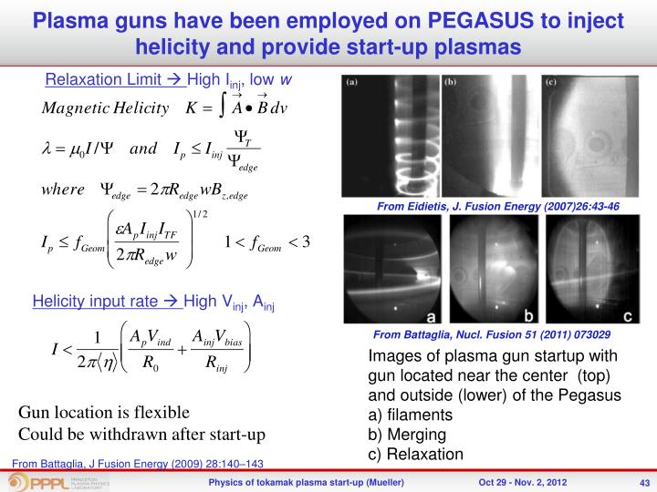 Plasma guns have been employed on PEGASUS to inject helicity and provide start-up plasmas