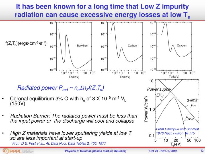 It has been known for a long time that Low Z impurity radiation can cause excessive energy losses at low T