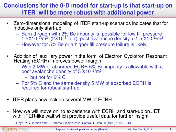 Conclusions for the 0-D model for start-up is that start-up on ITER  will be more robust with additional power